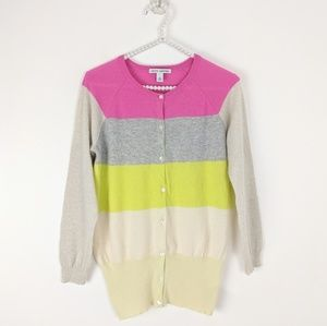 Autumn Cashmere Striped Tissue Cardigan Sweater L